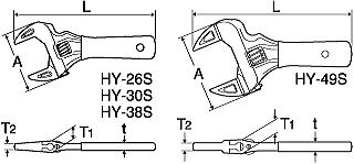 ショートエコワイド(薄型軽量ワイドモンキレンチ) 寸法