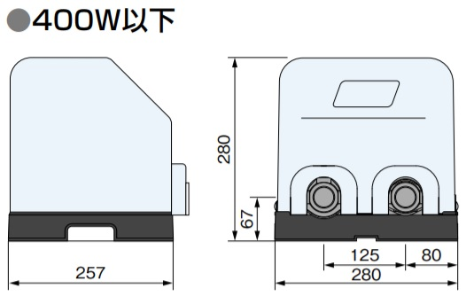 川本ポンプ 家庭用NF3形ポンプ 寸法図450以下